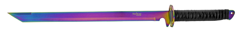26 in Samurai Style Ninja Machete with Throwing Knives Kit - Titanium