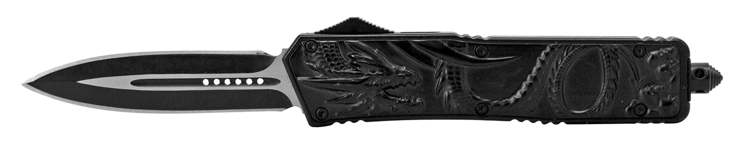 5.38 in Stainless Steel Dragon Out the Front Folding Pocket Knife - Black