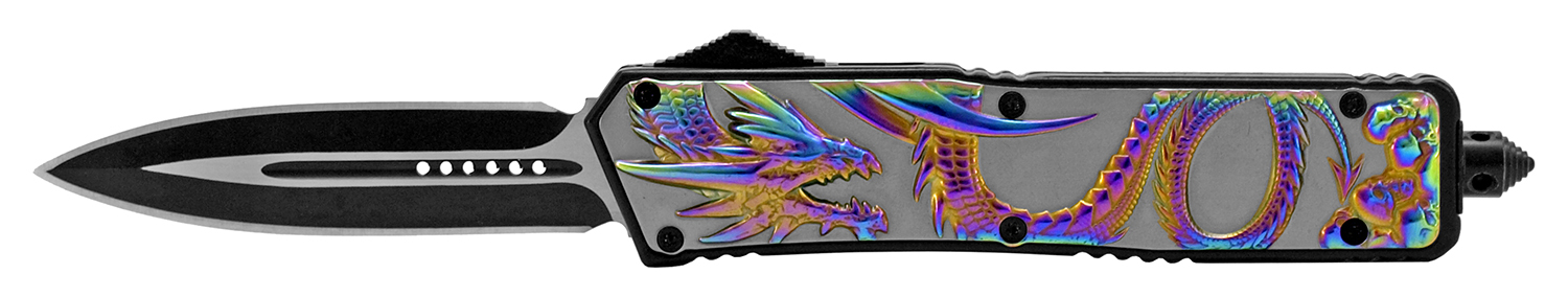 5.38 in Stainless Steel Dragon Out the Front Folding Pocket Knife - Titanium