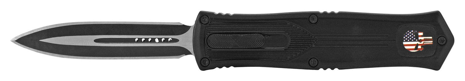 5.25 in Punisher Flat Stainless Steel Out the Front Folding Pocket Knife - Black