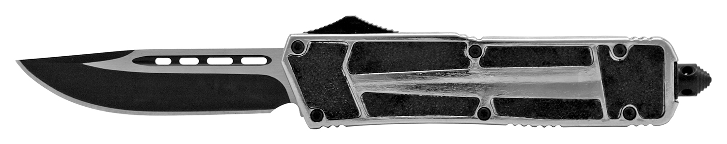 5 in Stainless Steel Grip Tight Out the Front Folding Pocket Knife - Chrome Silver