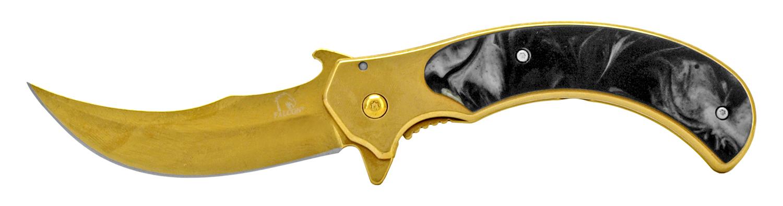 4.88 in Stainless Steel Hook Carver Pocket Knife - Gold and Black