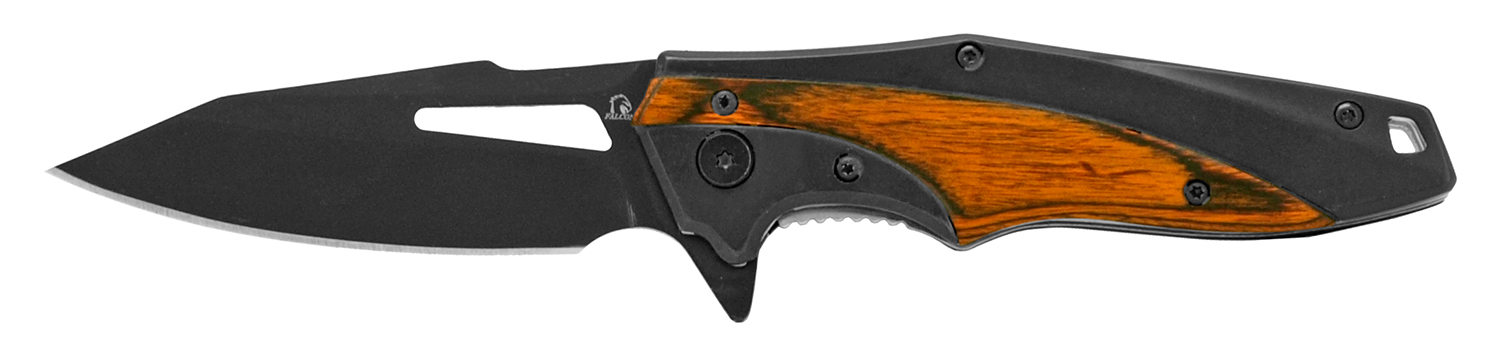 4.5 in Stainless Steel Hi-Tech Pocket Knife - Black and Wood