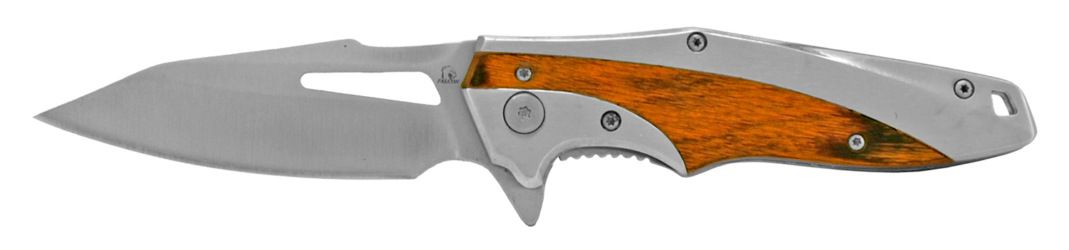 4.5 in Stainless Steel Hi-Tech Pocket Knife - Silver and Wood