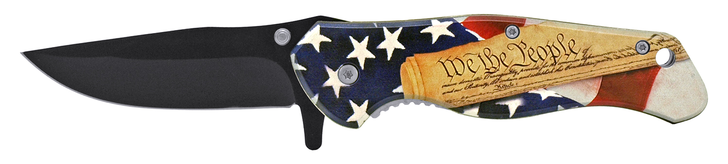 4.75 in We the People American Patriot Folding Pocket Knife - USA Flag