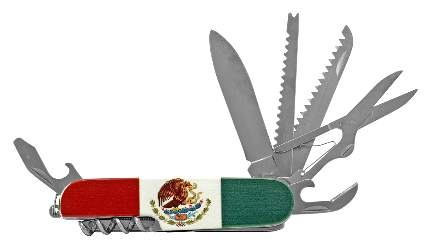 3.5 in Utility Swiss Army Style Folding Pocket Knife - Mexican Flag