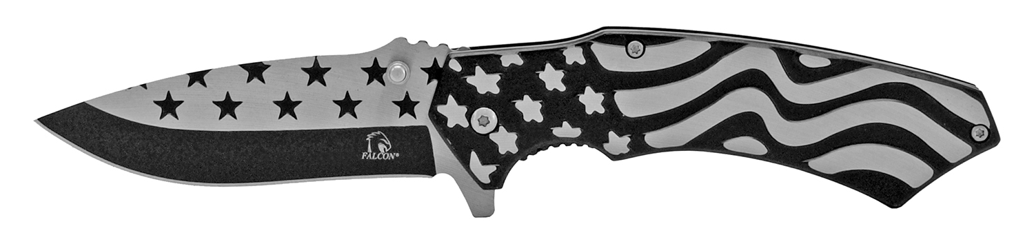 4.75 in Stainless Steel American Flag Pocket Knife - Black