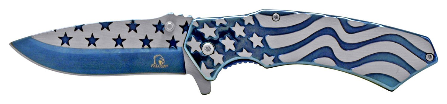 4.75 in Stainless Steel American Flag Pocket Knife - Blue