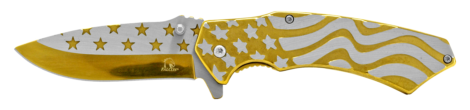 4.75 in Stainless Steel American Flag Pocket Knife - Gold