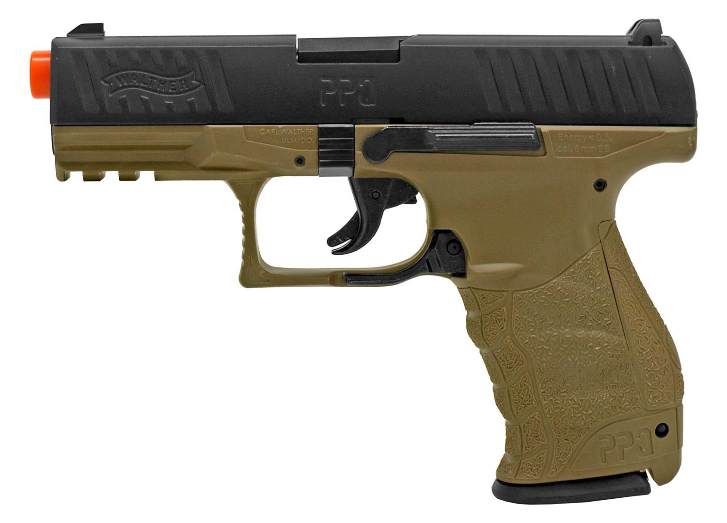 Walther PPQ Spring Powered 6mm BB Pistol Airsoft Gun - Dark Earth Brown