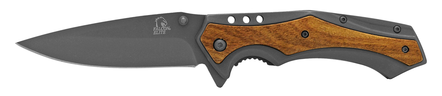 4.75 in Stainless Steel Elite Pocket Knife - Gun Metal and Wood
