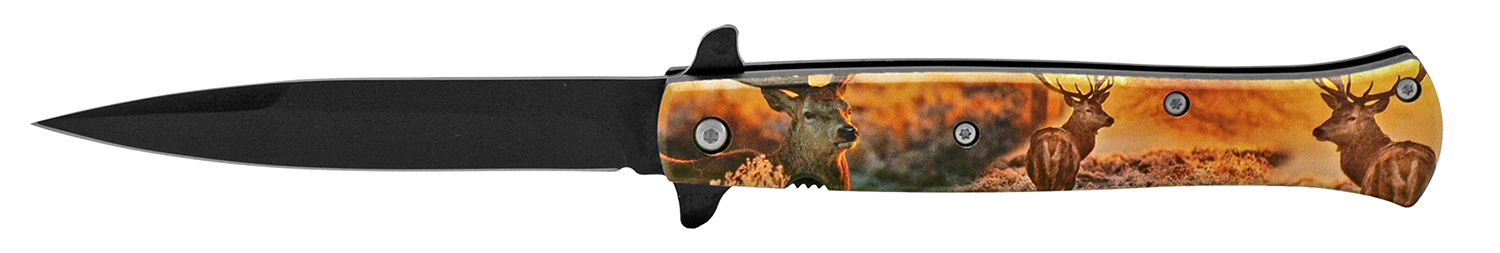 5 in Spring Assisted Stiletto Knife - Deer