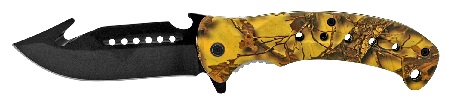 5 in Hunter's Helper Pocket Knife - Yellow Camo