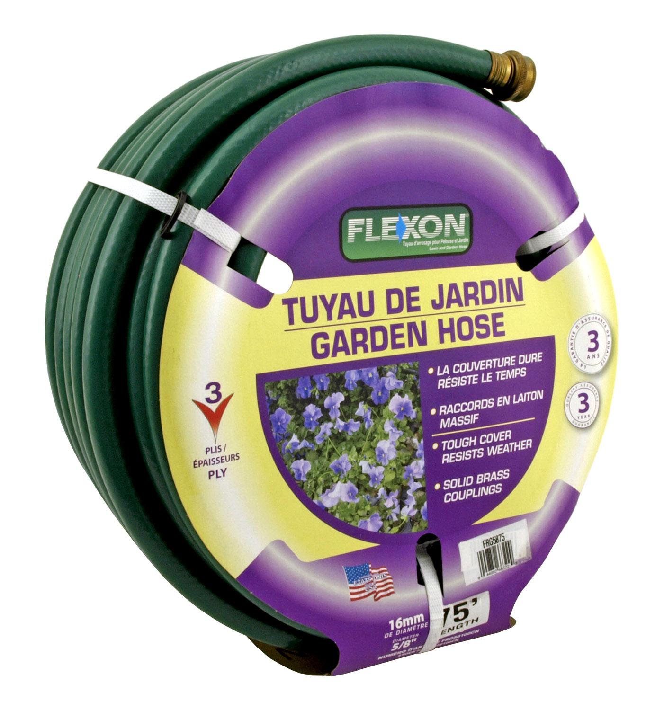 75' Heavy Duty 3 Ply 5/8 in Flexon Garden Hose - Green