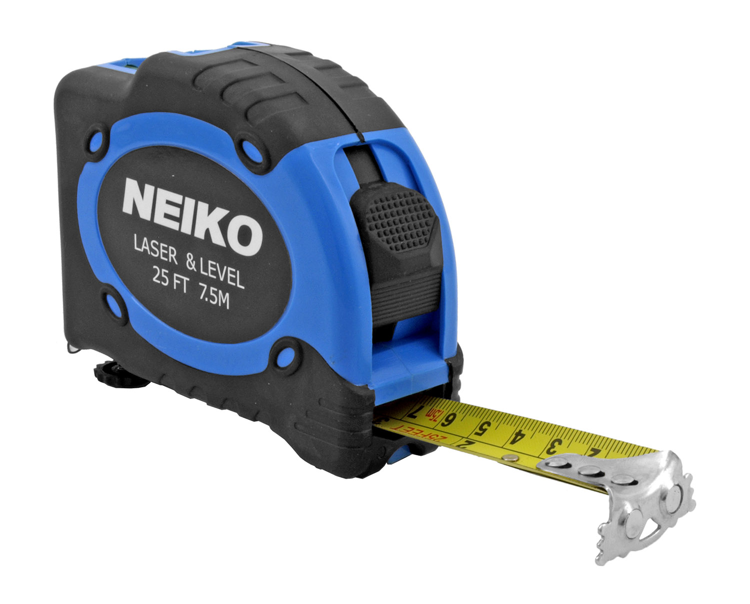 25' Tape Measure with Laser and Bubble Level - Neiko