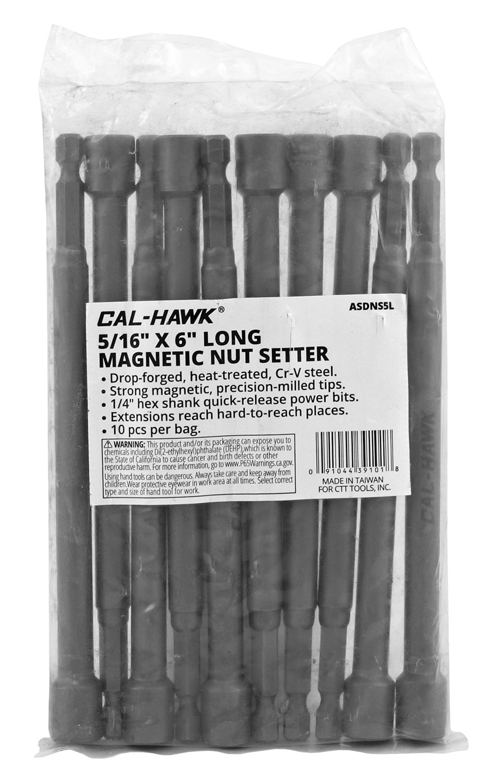 10 - pc. Cal-Hawk 5/16 in x 6 in Long Magnetic Nut-Setter