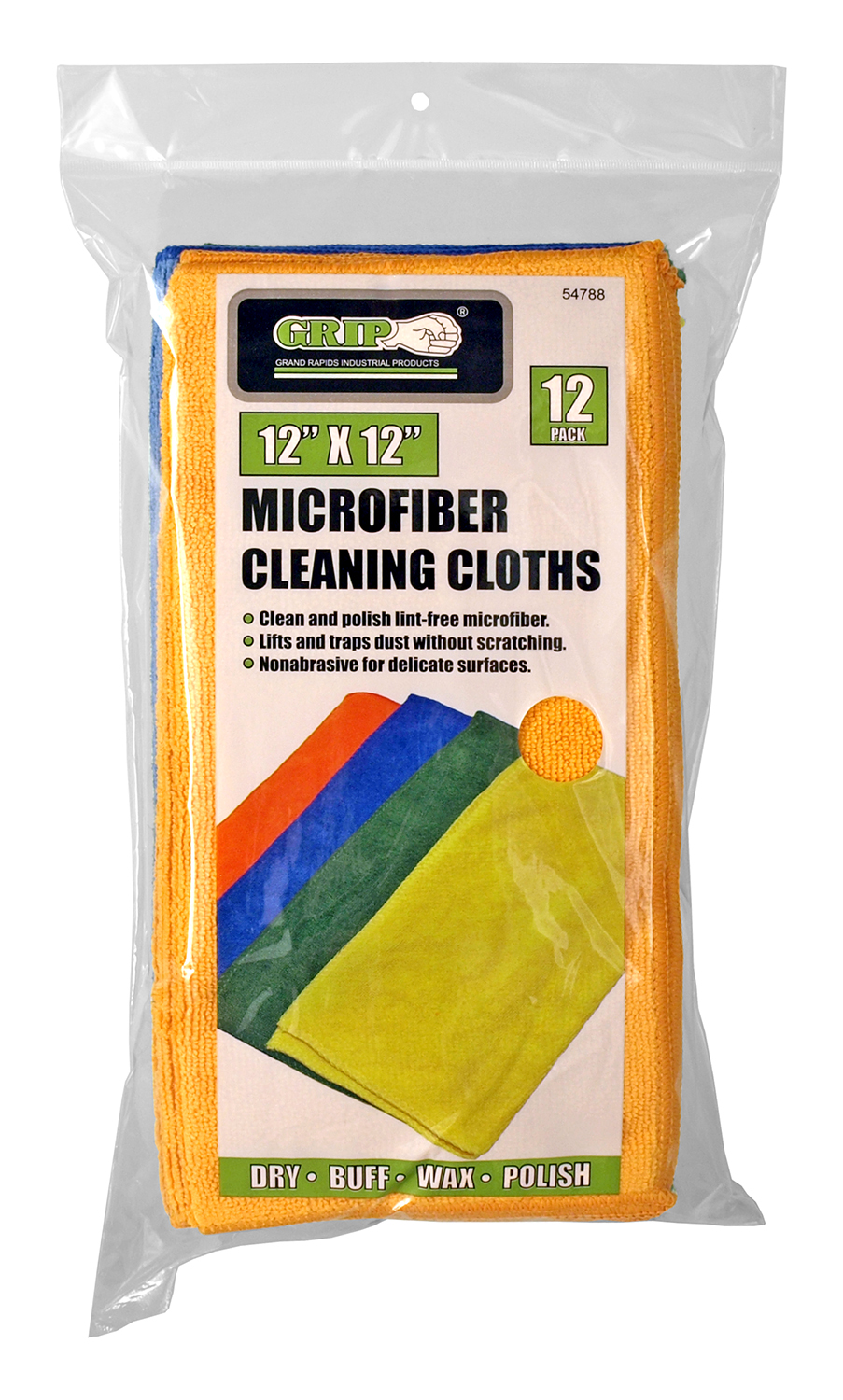 12 - pk. Microfiber Cleaning Cloths - Grip