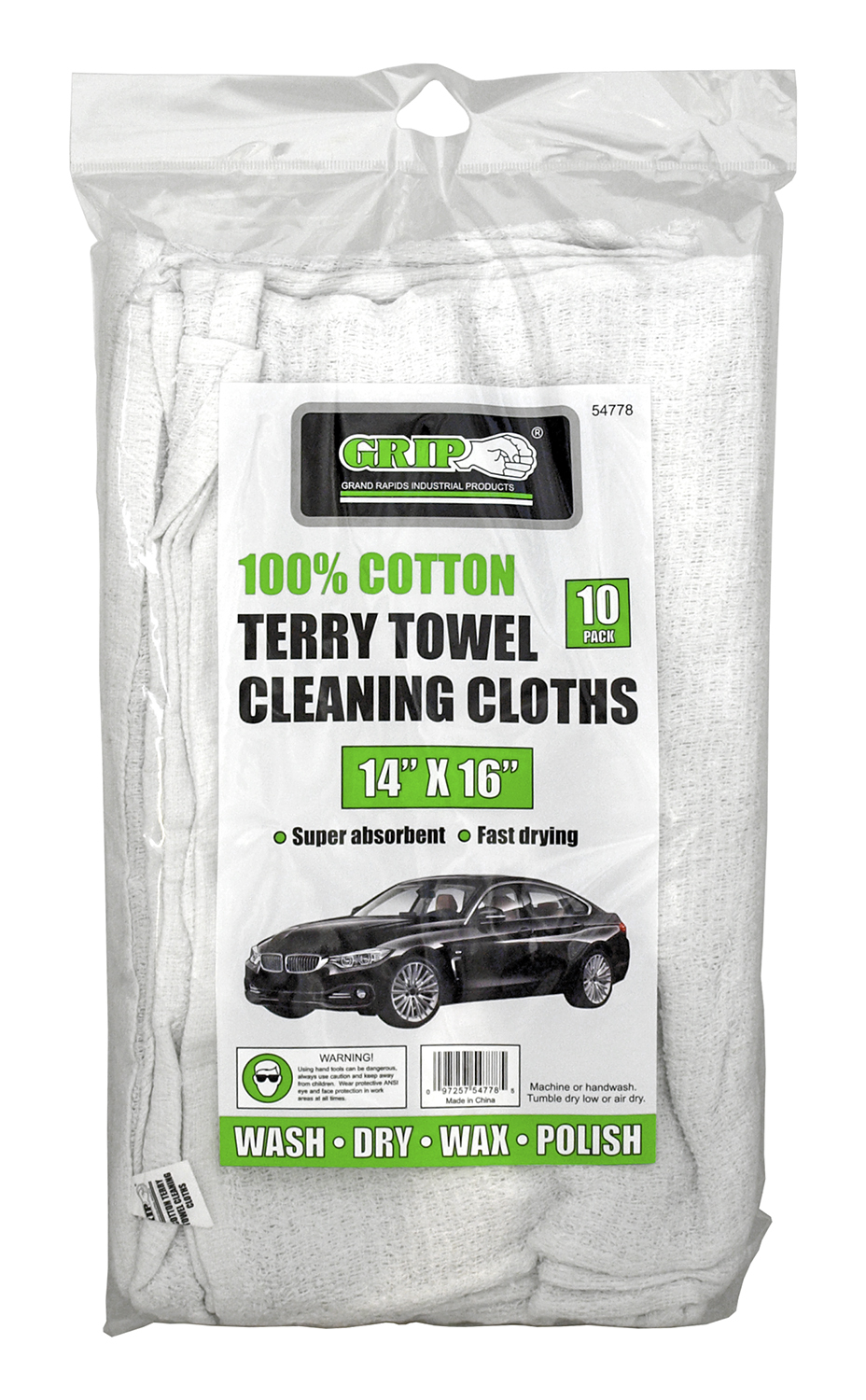 10 - pk. 100% Cotton Terry Towel Cleaning Clothes - Grip
