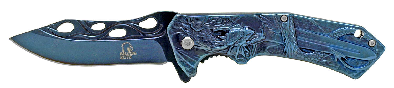 4.75 in Stainless Steel Dragon Slayer Pocket Knife - Blue