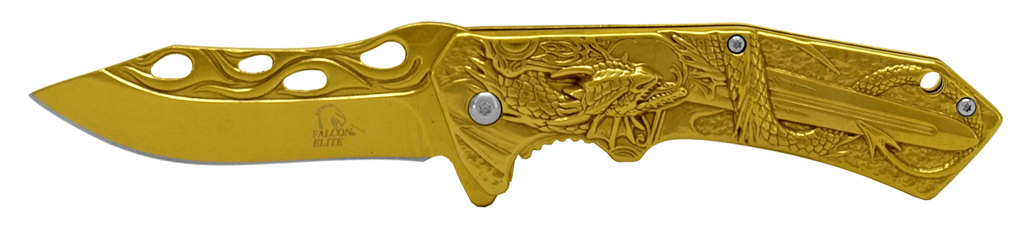 4.75 in Stainless Steel Dragon Slayer Pocket Knife - Gold