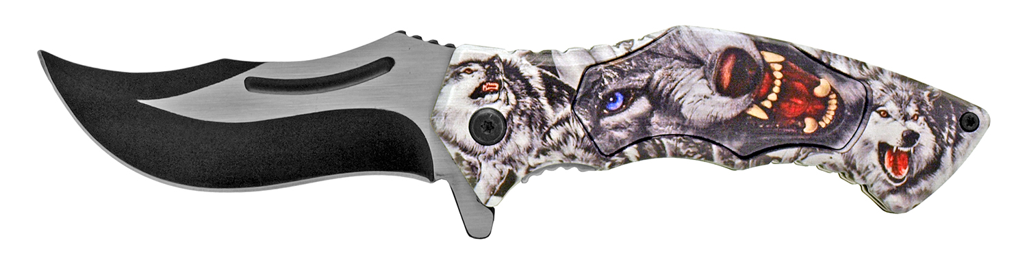 4.88 in Stainless Steel Artisan Pocket Knife - Wolf