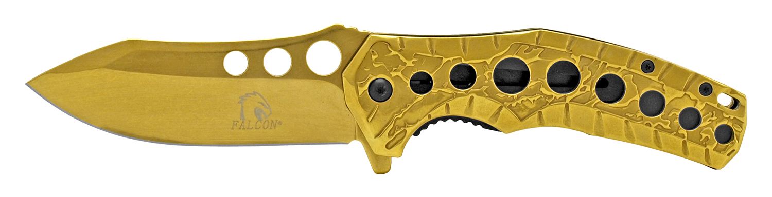 4.75 in Stainless Steel Highlander Pocket Knife - Gold