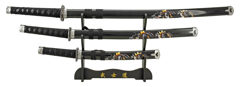 3-pc. Samurai Sword Set - Black Dragon
