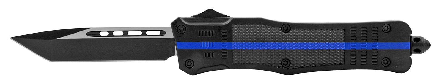 5.75 in Heavy Duty Stainless Steel Blue Line OTF Out the Front Folding Pocket Knife - Support Local Police
