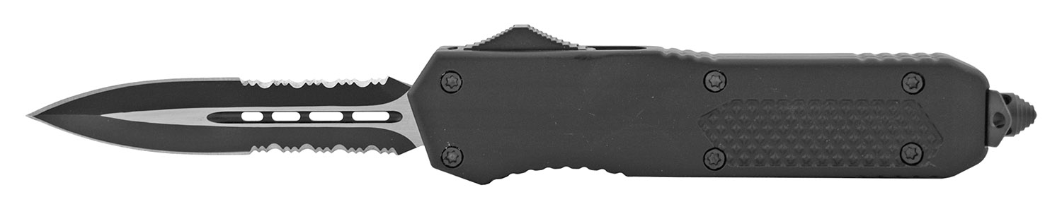 5.5 in Tactical Out the Front OTF Folding Pocket Knife with Serrated Blade - Black