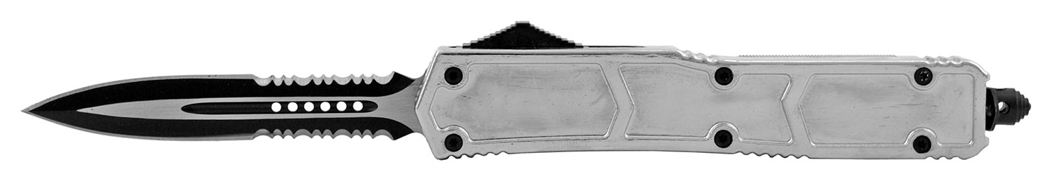 5.25 in Stainless Steel Colossus OTF Out the Front Folding Pocket Knife with Serrated Black - Chrome