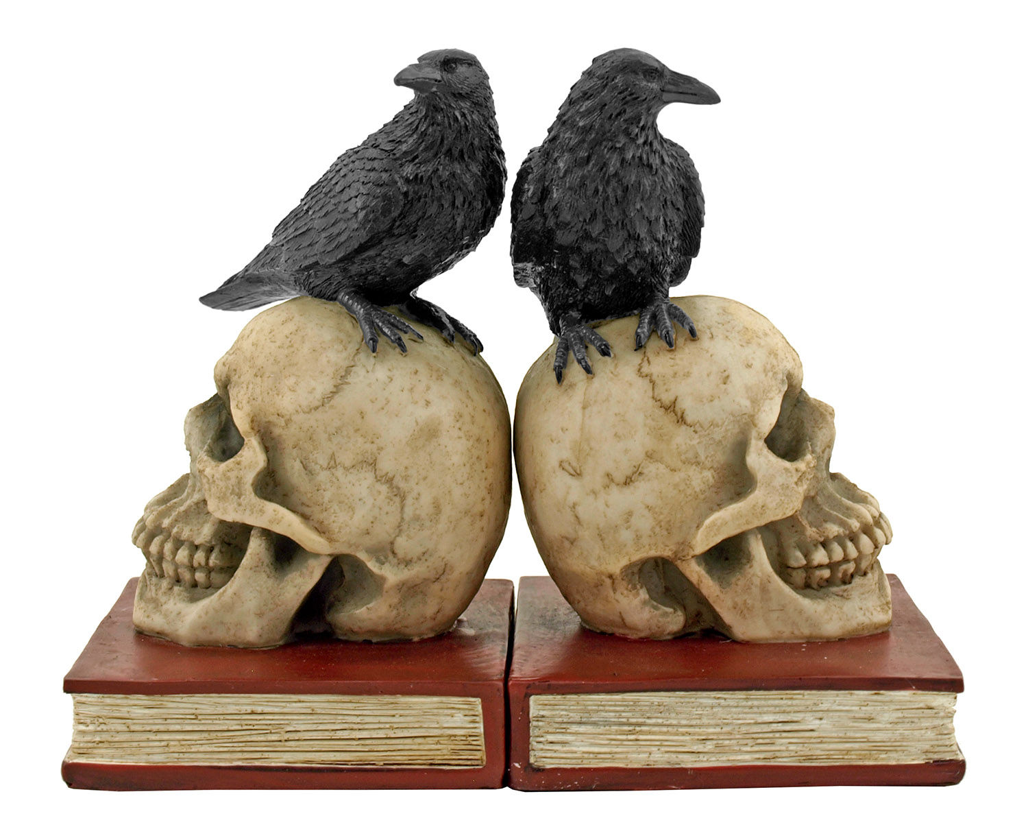 Murder and Mystery Skull and Raven Crow Clue Study Bookends - DWK