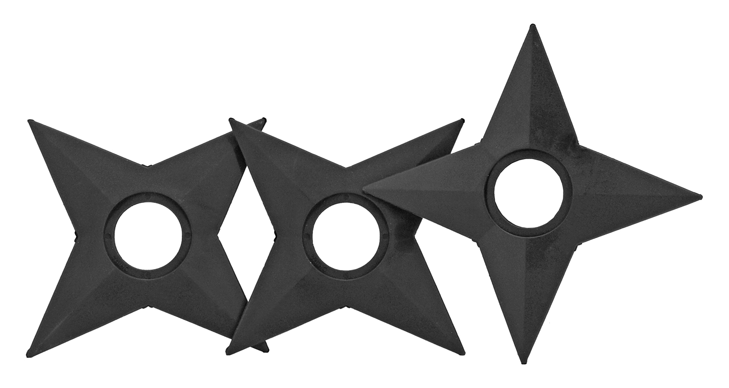 5.13 in 4 Point Ninja Throwing Star Set - Black
