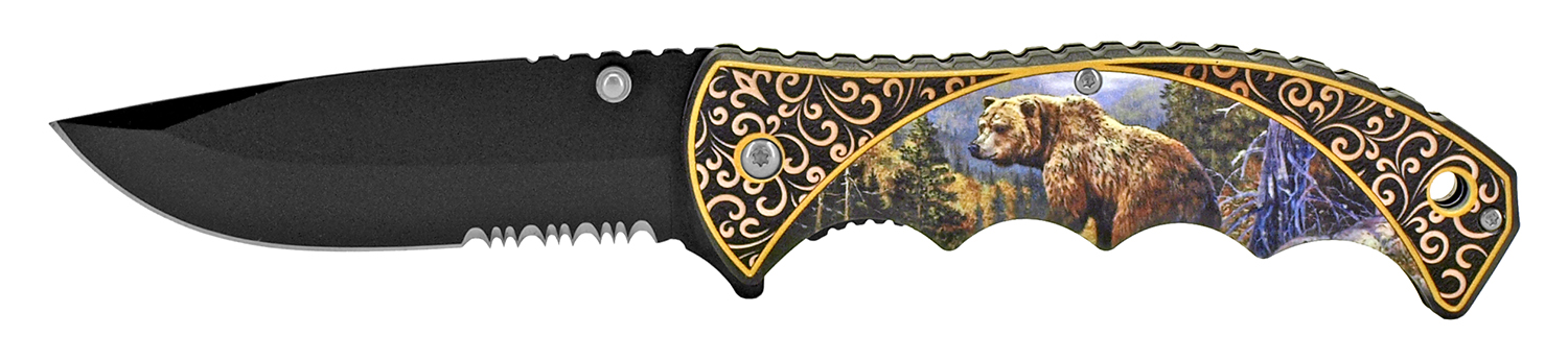 4.75 in Spring Assisted Outdoor Hunting Pocket Knife - Bear