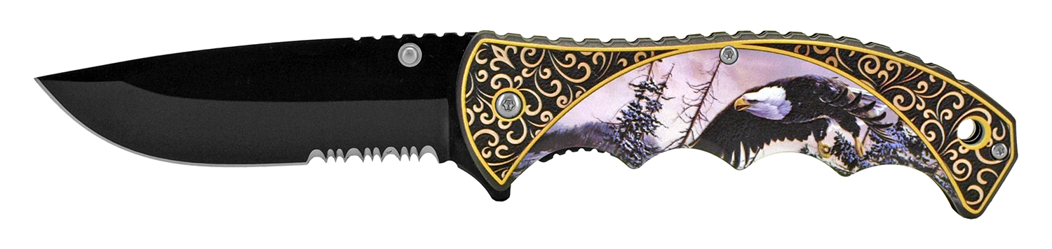 4.75 in Spring Assisted Outdoor Hunting Pocket Knife - Eagle