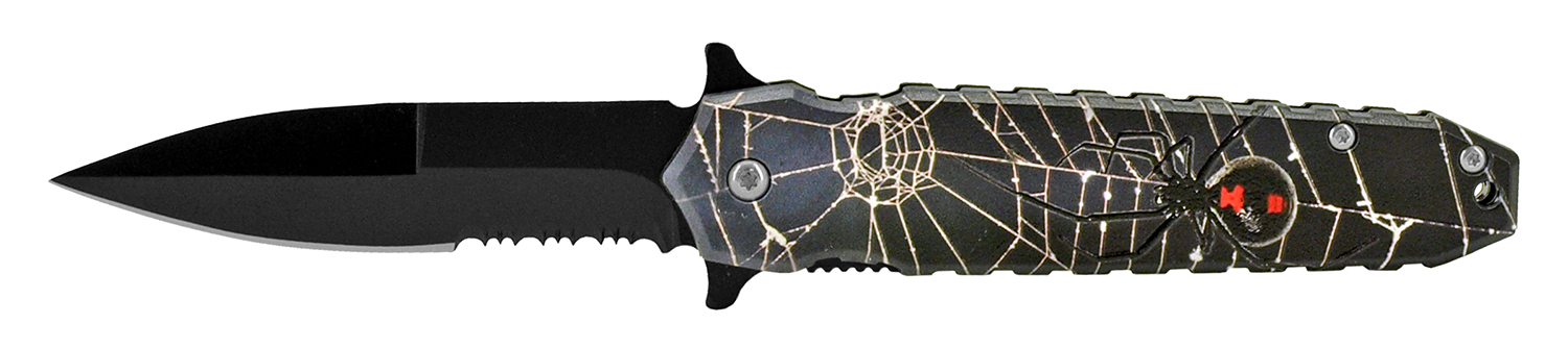 4.75 in Spring Assisted Pocket Knife - Black Widow