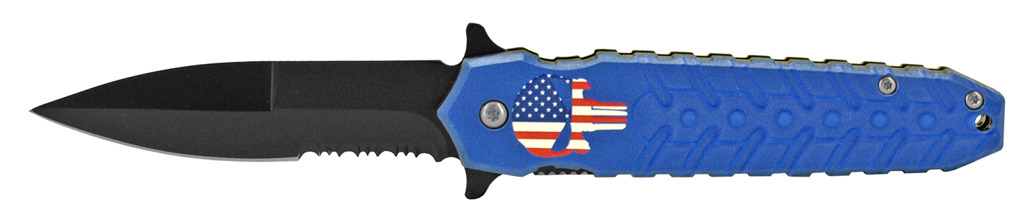 4.75 in Spring Assisted Pocket Knife - Punisher Blue