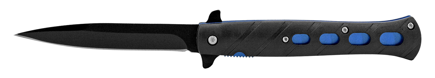 5 in Flip Open Spring Assisted Stiletto Knife - Blue
