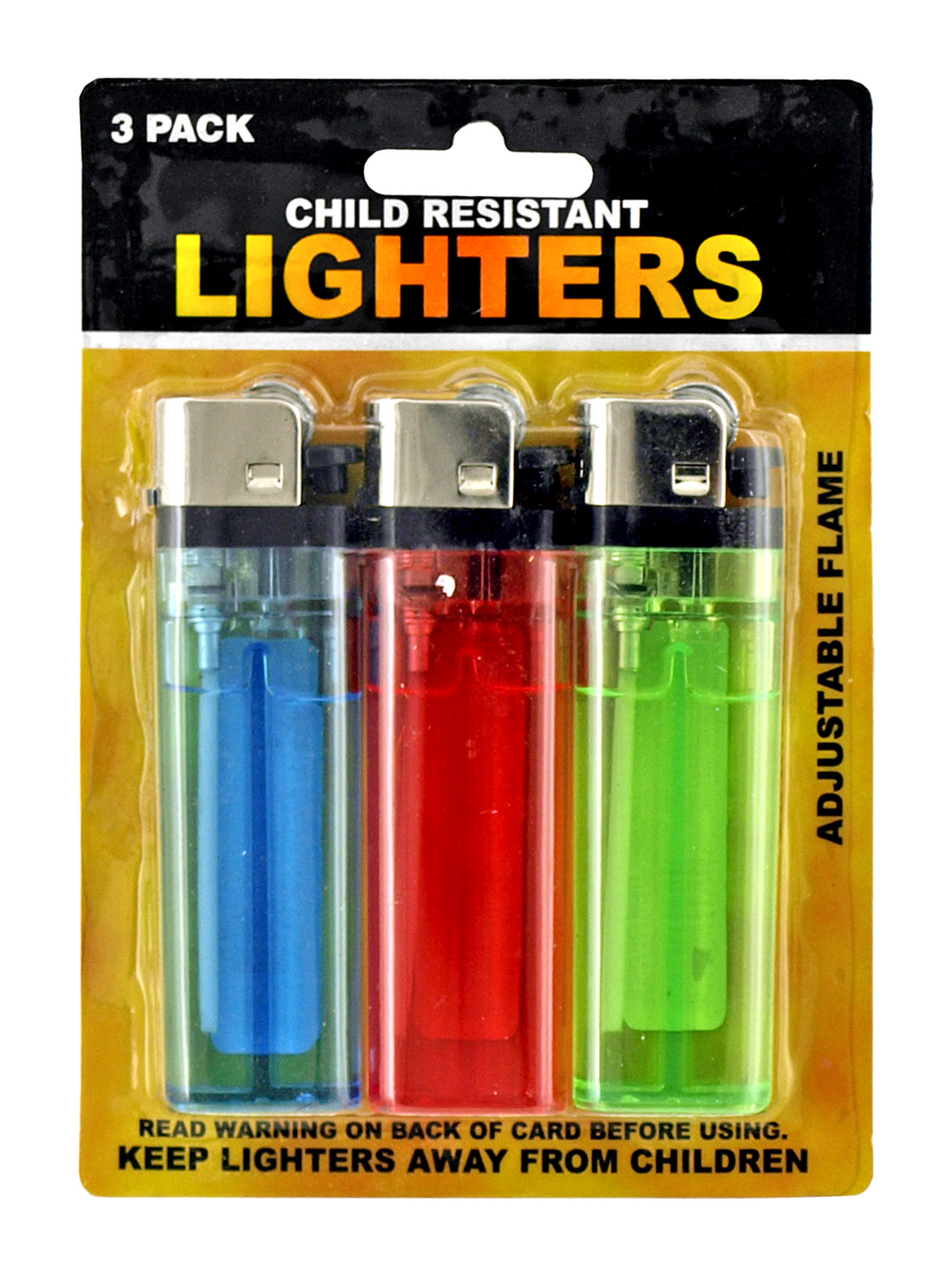 3 - pk. Adjustable Lighters with Lighter Fluid - Assorted Colors