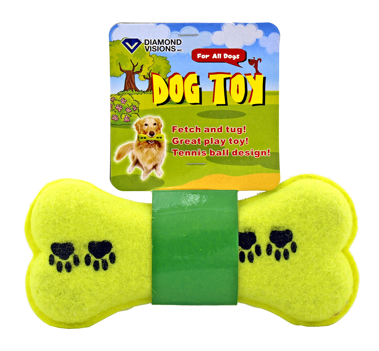 Fetch and Tug Tennis Ball Dog Bone Toy for Large and Small Dogs - Diamond Visions