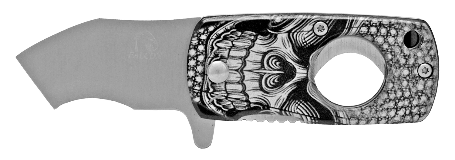 2.5 in Folding Cigar Cutter Pocket Knife - Skull