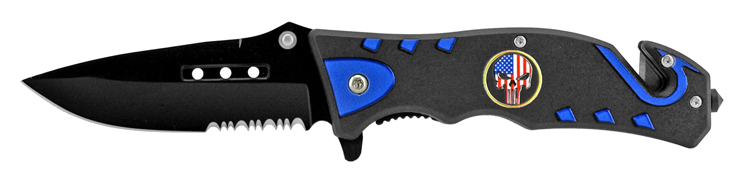 4.75 in Tactical Rescue Pocket Knife - Punisher Skull