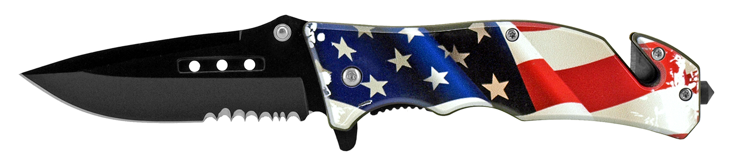 4.75 in Tactical Rescue Pocket Knife - US Flag