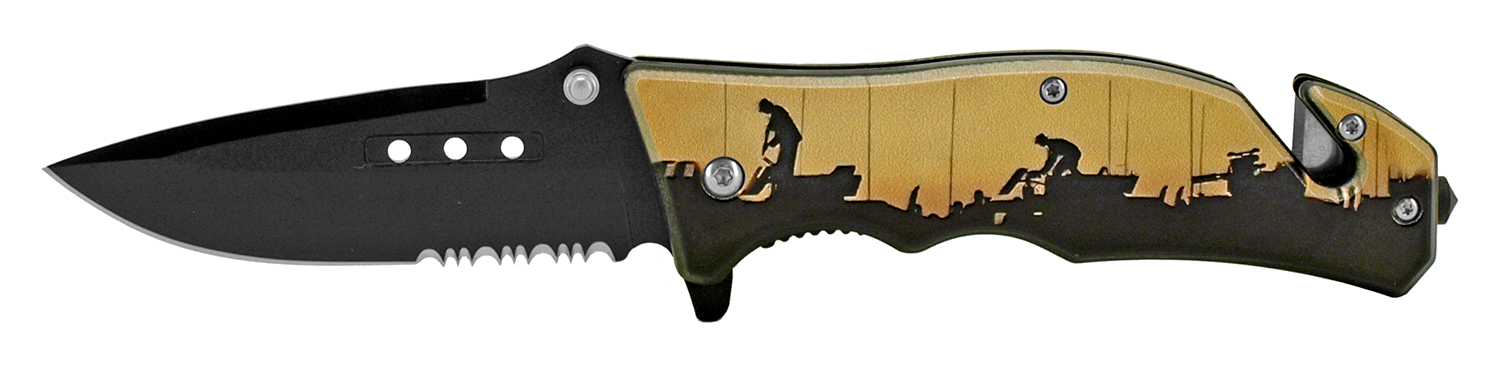4.75 in Tactical Rescue Pocket Knife - Army