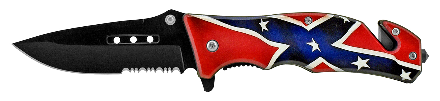 4.75 in Tactical Rescue Pocket Knife - Confederate Flag