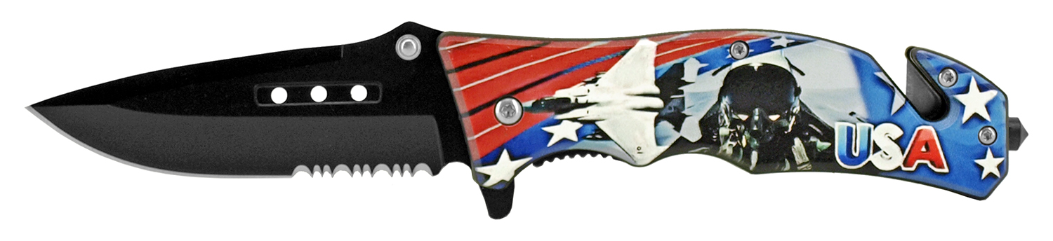 4.75 in Tactical Rescue Pocket Knife - Air Force