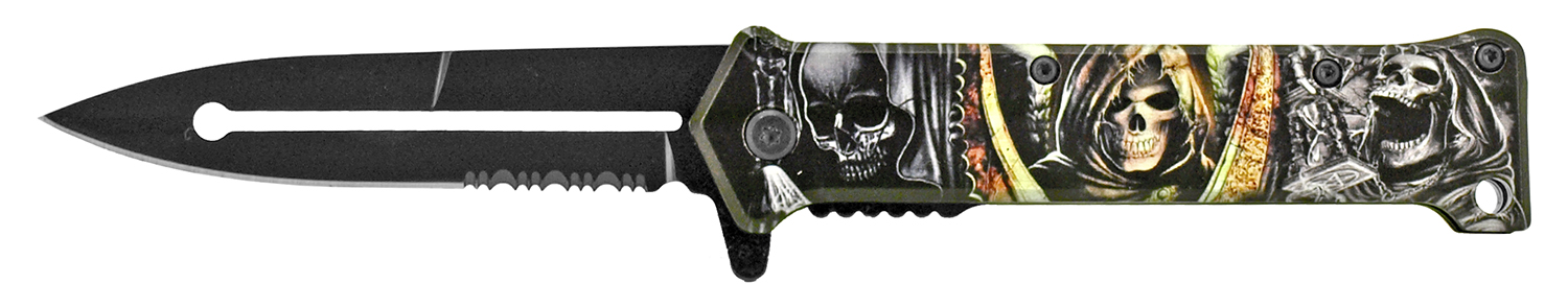 4.63 in Stiletto Folding Pocket Knife - Death Head