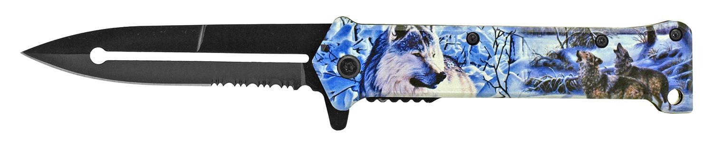 4.63 in Stiletto Folding Pocket Knife - Wolf