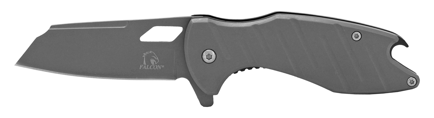 4.75 in Stainless Steel Pocket Knife with Bottle Opener - Grey