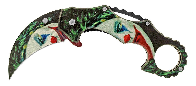 4.75 in Karambit Fighting Style Folding Pocket Knife - Dark Knight Scary Clown Joker