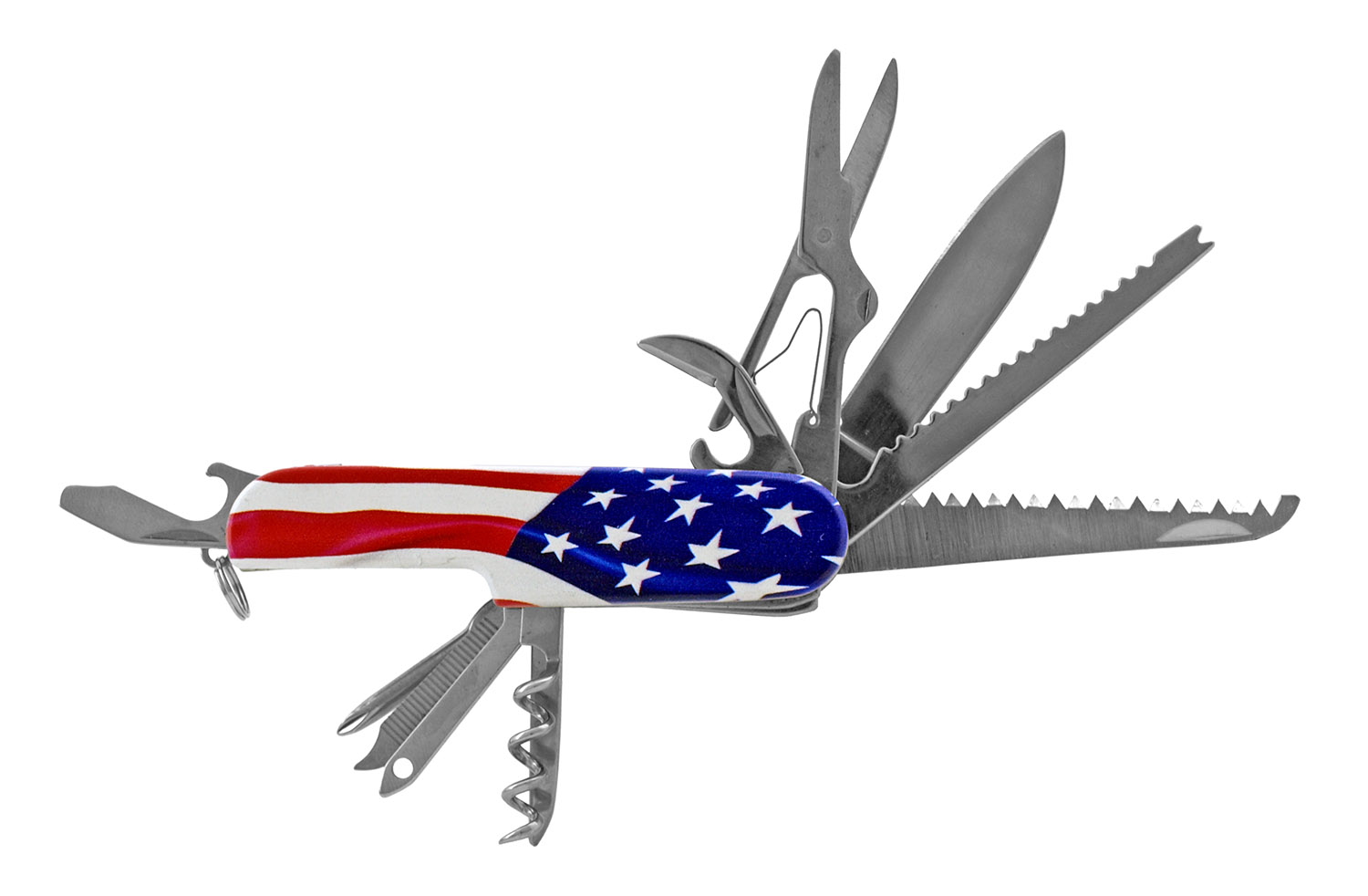 3.5 in Utility Swiss Army Style Folding Pocket Knife - United States of America Flag